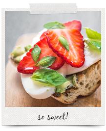 strawberry, mozzarella, avocado, basil & honey | curatedlifestudio.com
