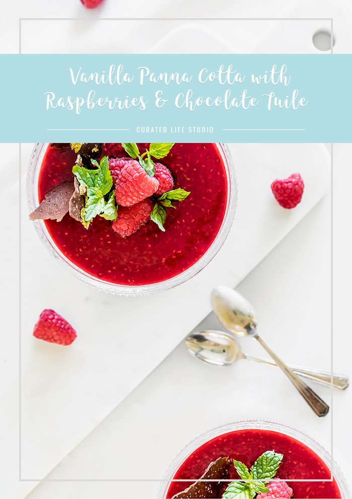 vanilla panna cotta with raspberries & chocolate tuile | www.curatedlifestudio.com