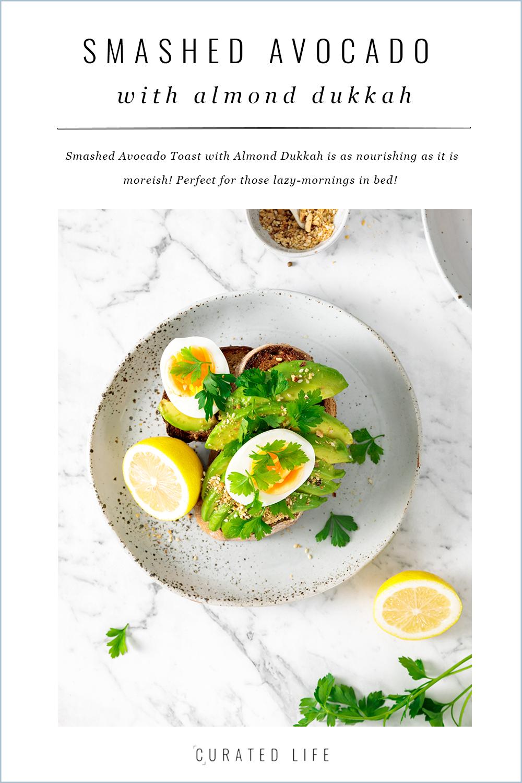 smashed avocado toast with almond sukkah   curatedlifestudio.com