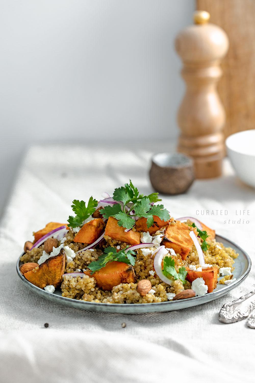Healthy Quinoa & Roasted Sweet Potato Salad with an easy orange dressing.  #healthy #roasted #vegan #dressing #recipes #easy #quinoa