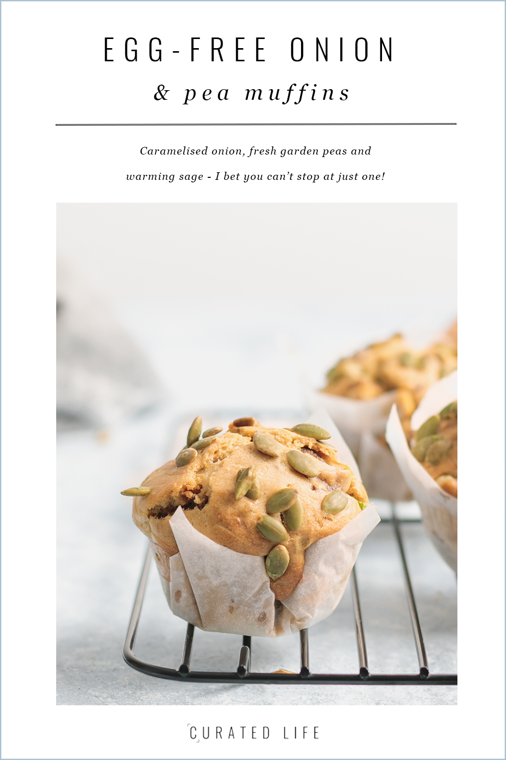 egg free savoury muffins with caramelised onion, sage and spring peas | www.curatedlifestudio.com