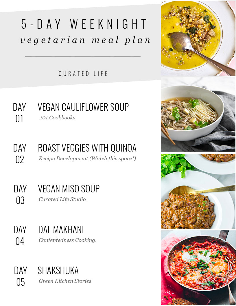 5 Day Weeknight Vegetarian Meal Plan (Gluten Free & Vegan)  #meal-plan #vegetarian #gluten-free #vegan