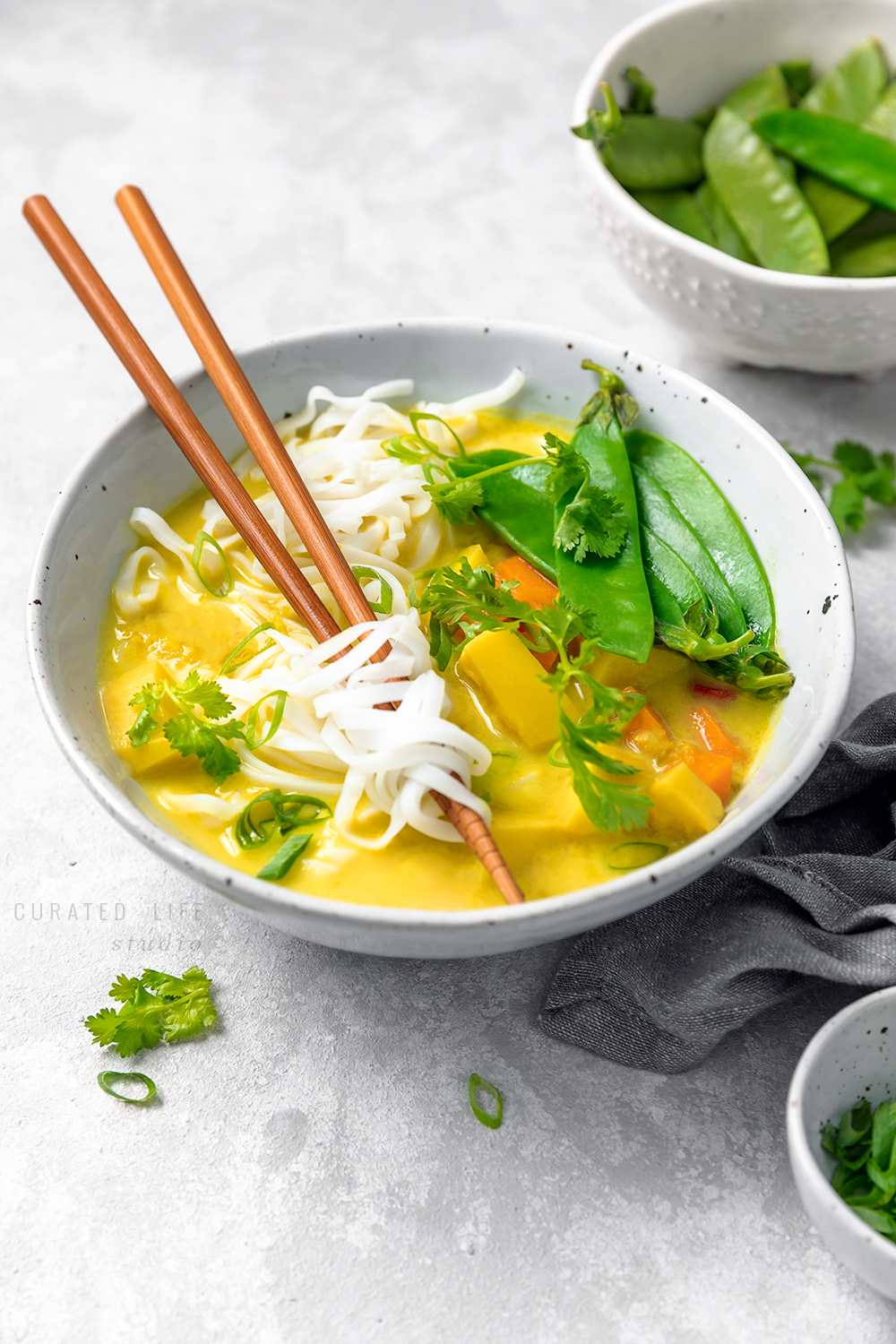 Delicious vegetable Coconut Curry Soup with potato & noodles.  #curry #soup #recipe #coconut #vegetarian #vegan #gluten-free #healthy