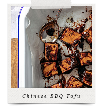 Chinese BBQ Tofu (Char Sui) Tofu in baking pan