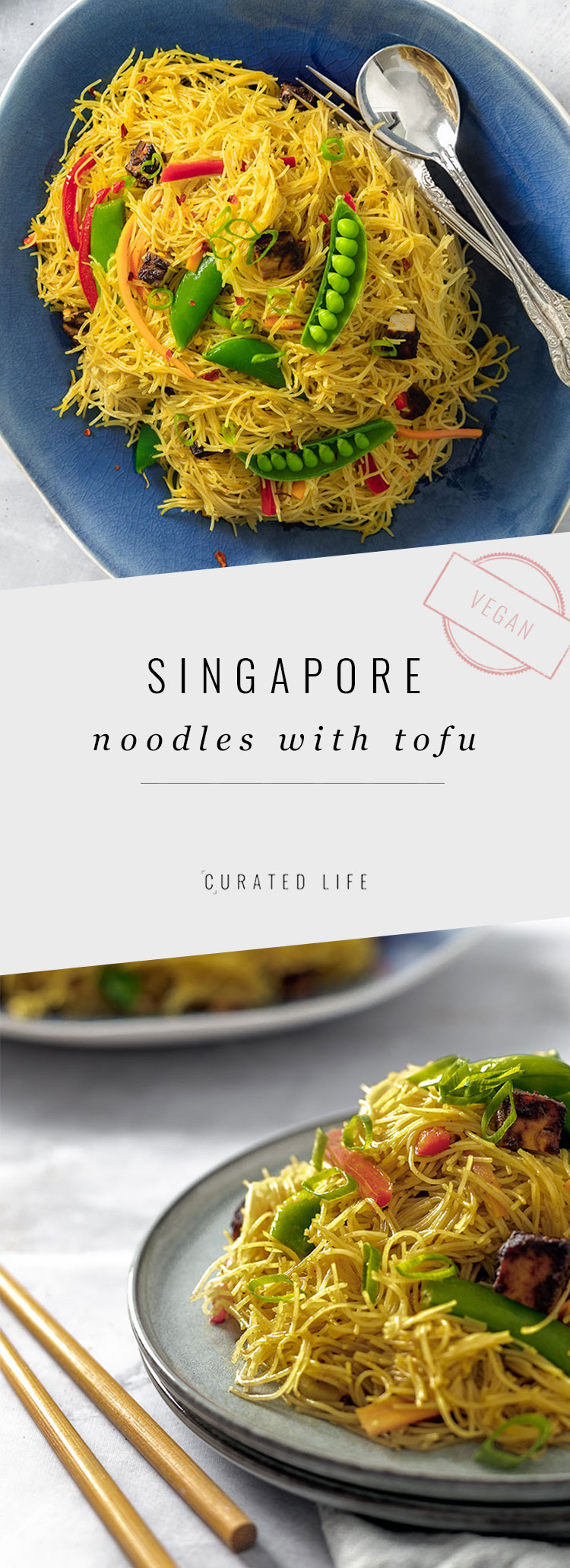 Mouth-watering Singapore Noodles Stir fry with Chinese BBQ Tofu and an easy curry sauce. Prepared in under 30-minutes, this dish is perfect for dinner!  #singapore #noodles #easy #vegetarian #curry #authentic #recipe #vegan #healthy #chinese #sauce #stir-fry