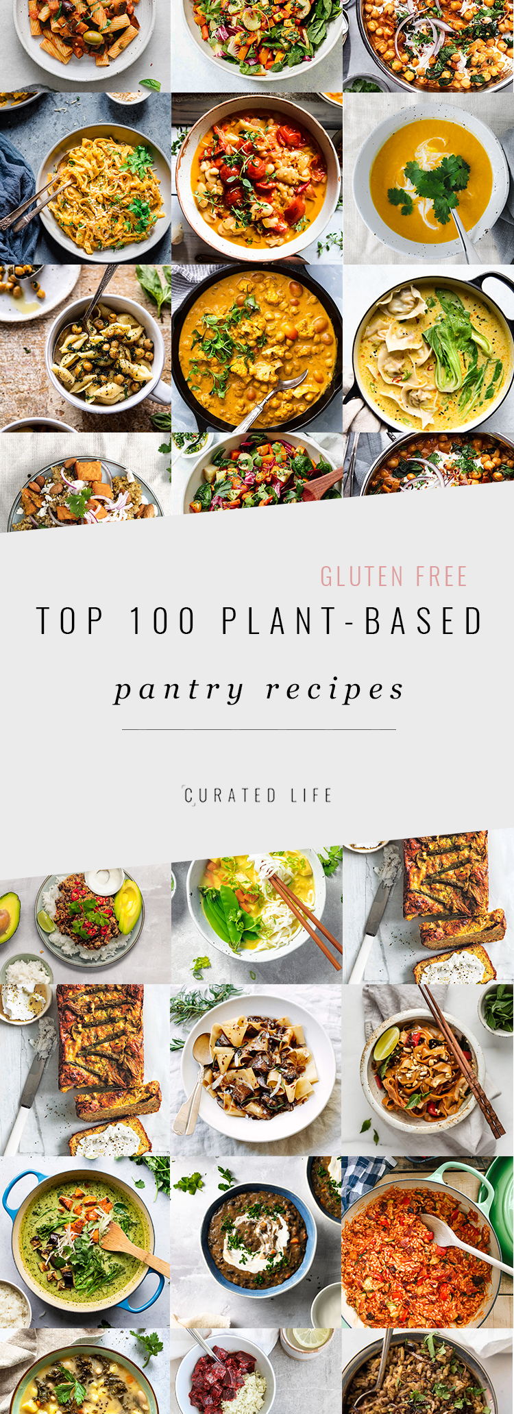 The top 100 plant-based essential pantry recipes for the vegan, gluten-free or vegetarian kitchen! Substitutions with a FREE 80+ Kitchen Pantry Essentials Checklist!  #pantry #staples #meals #recipes #vegan #gluten-free #vegetarian #clean #plant-based #minimalist #list