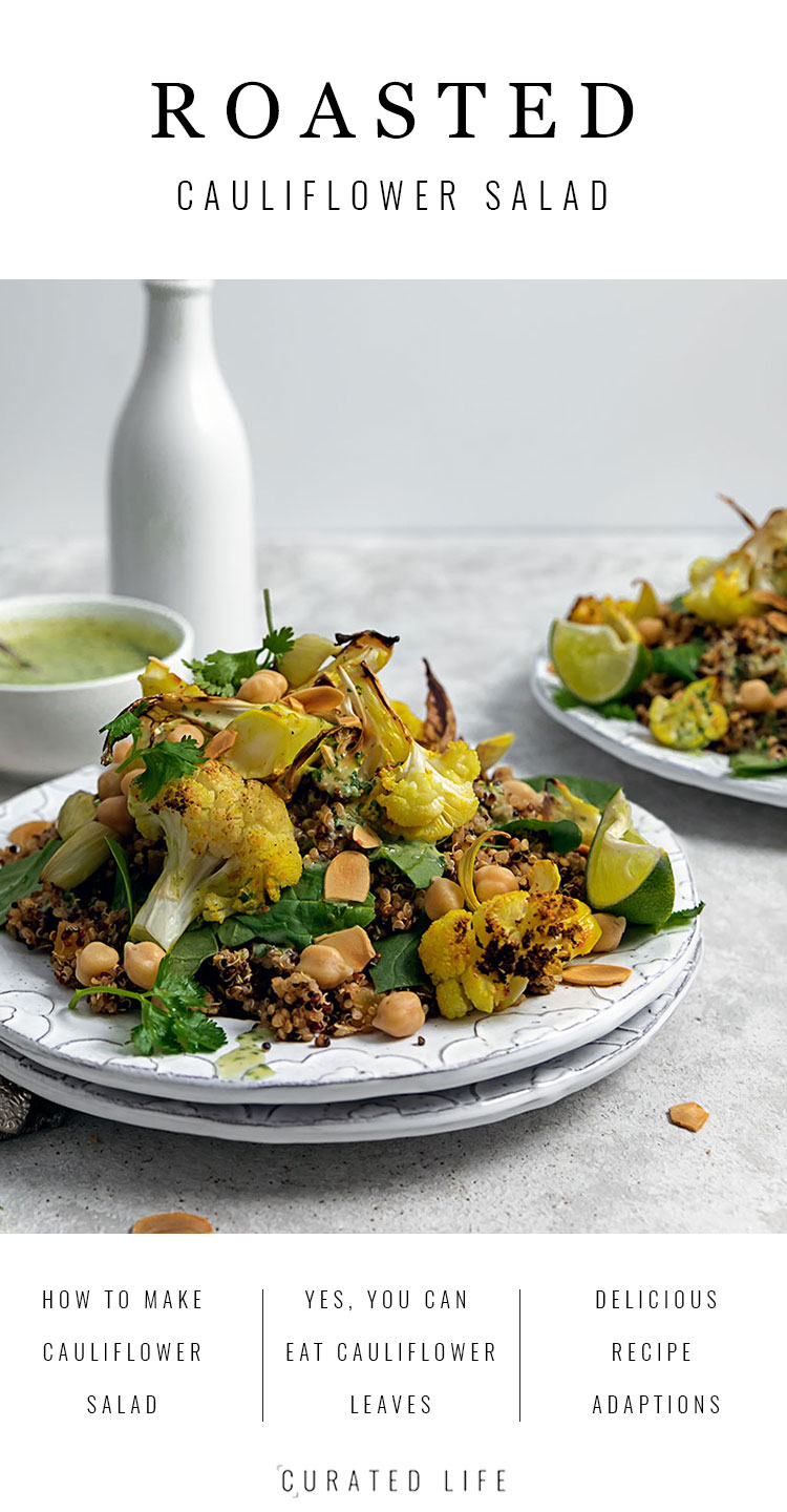 This Roasted Cauliflower Salad with Chickpeas combines delicately smoked quinoa and a Creamy Coconut, Lime and Cilantro Dressing.  #cauliflower #salad #roasted #chickpeas #recipe #quinoa #healthy #cold #vegan #warm #creamy