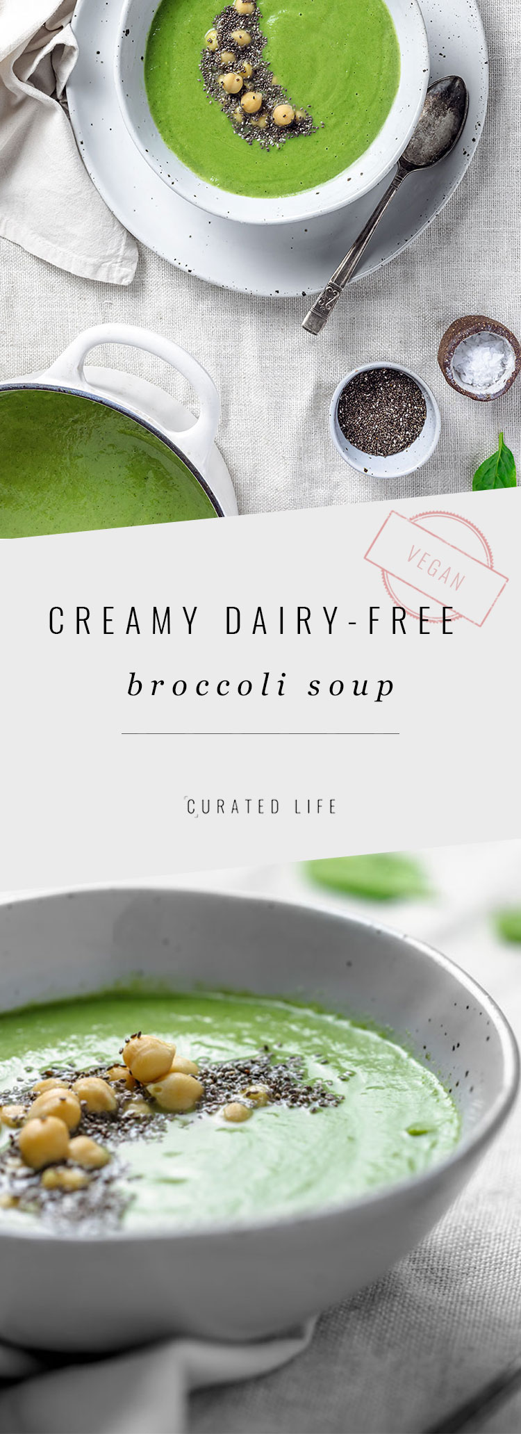 On the table in under 30 minutes, this homemade Dairy Free Broccoli Soup is so creamy you'll forget it was prepared without cream, milk, cheese or dairy!  #Recipe #Soup #Vegan #Gluten-Free #Easy #Healthy #Creamy