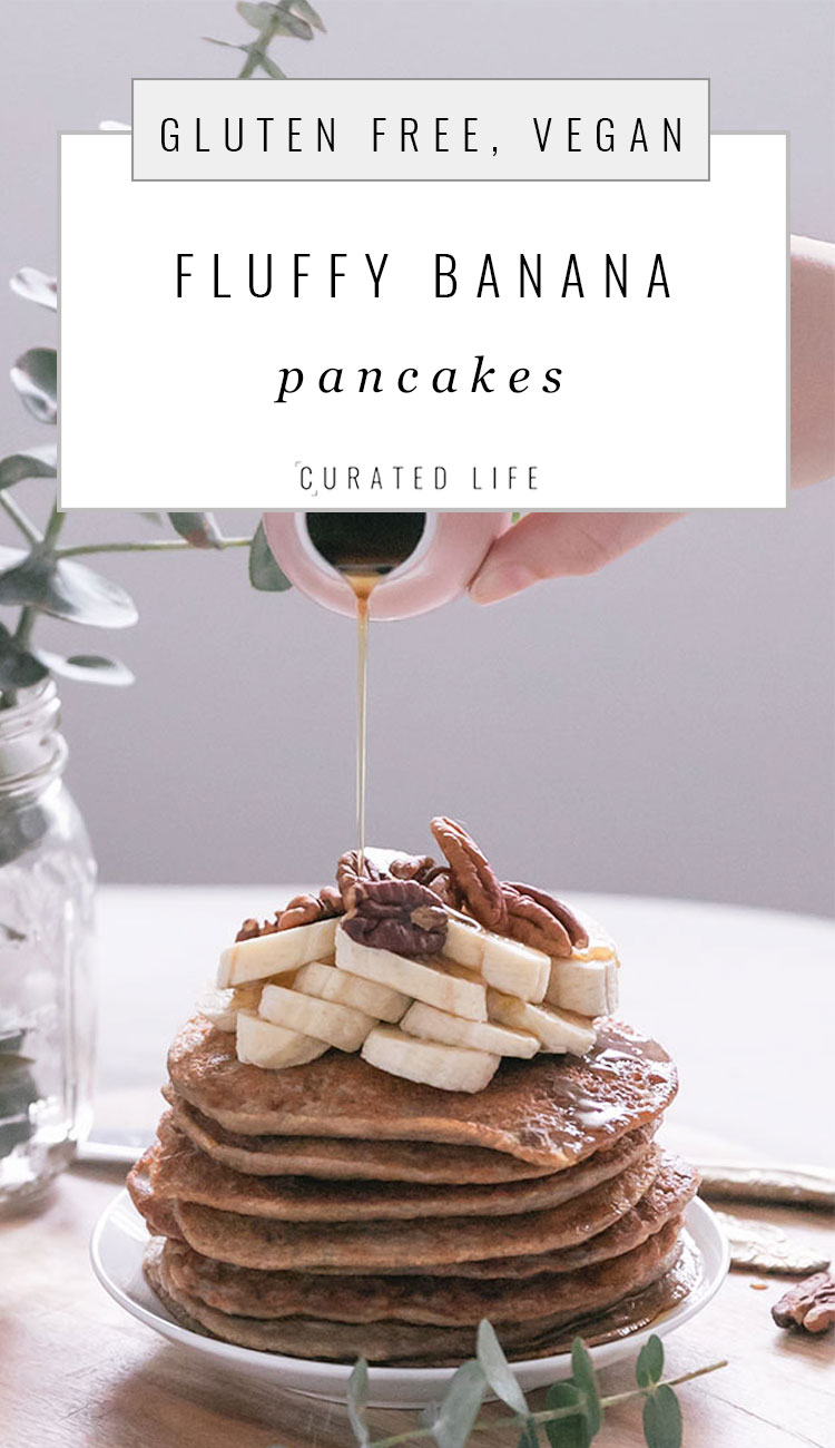 "Heading: ""Fluffy Banana Pancakes (Vegan, Gluten Free)"" with an image of a stack of pancakes being drowned in a flow of maple syrup."